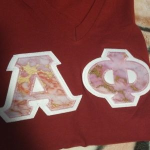 American Apparel Tops - Alpha Phi Stitched Letters